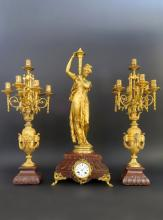 Very Fine 19th C. Bronze & Rouge Marble Clock Set
