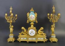 Exceptional 19th C. Figural Bronze & Sevres Clock Set