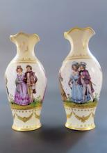 Pair of French Panoramic Hand Painted Cream White Vases