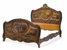 19th C. Louis XV Style Gilt Bronze Mounted Wood Bed