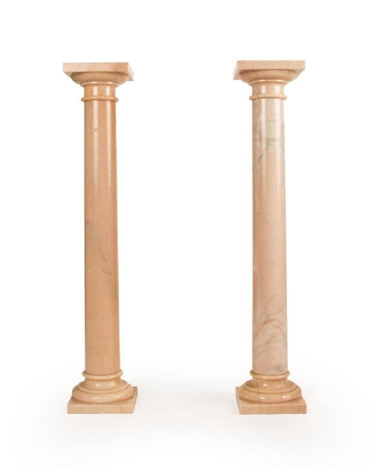 A Pair Of Pink Marble Tuscan Columns
