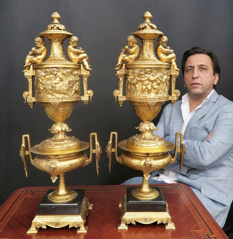 A Pair of 19th C. Louis XV Style large Figural Urns