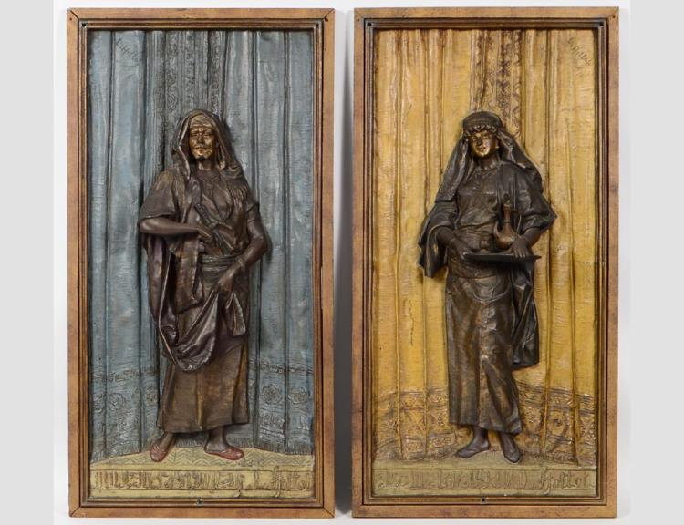 A PAIR OF FRENCH BRONZE PLAQUES SIGNED