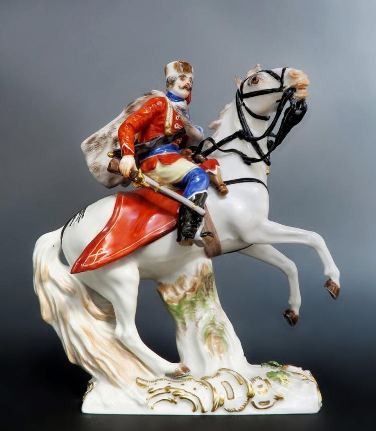 Rare Meissen Figure of Husar Horse Riding