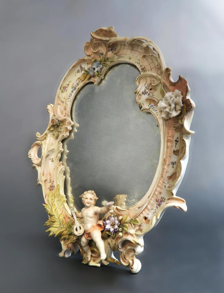 A Meissen Style Figural Mirror, 19th C.