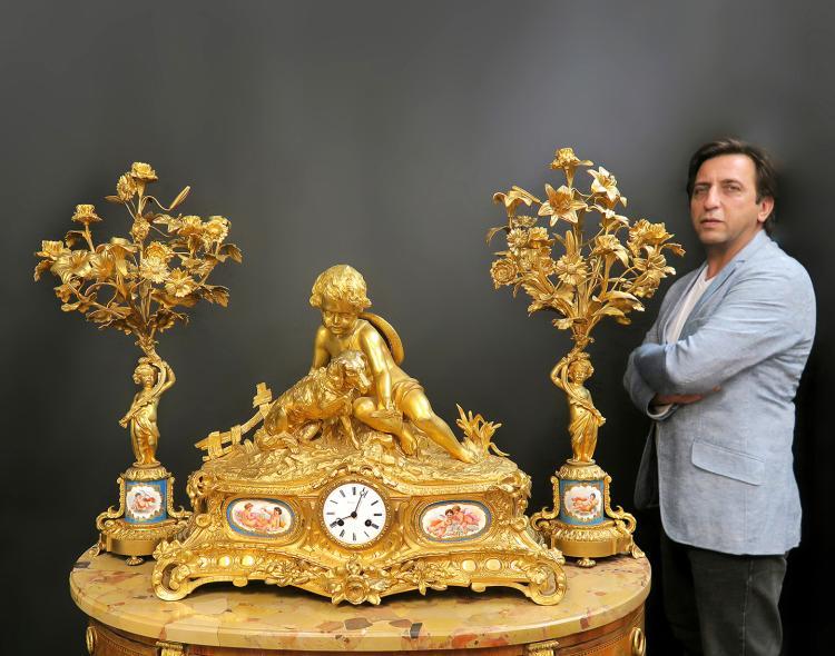 Monumental French Sevres/Bronze Clock Set