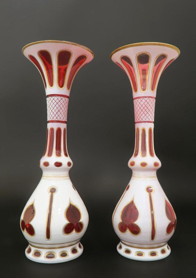 Pair of 19th C. Bohemian Crystal Vases