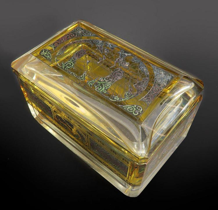 19th C. Bohemian Enameled Crystal Jewelry Box