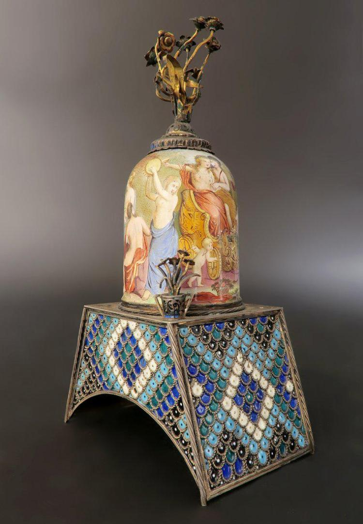 19th C. Viennese Enamel on Silver