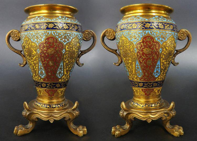 PAIR OF MINIATURE FRENCH GILT BRONZE AND CHAMPLEVE ENAM