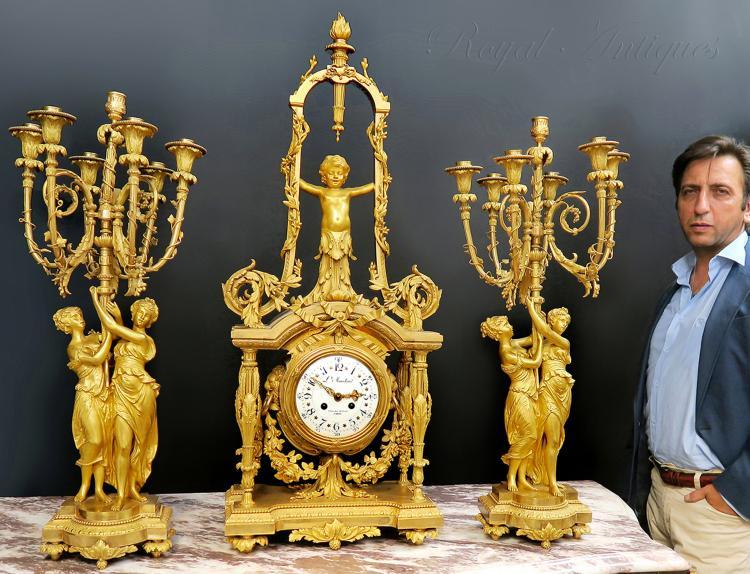 Monumental Mercury Gilt Bronze Figural Clock Set