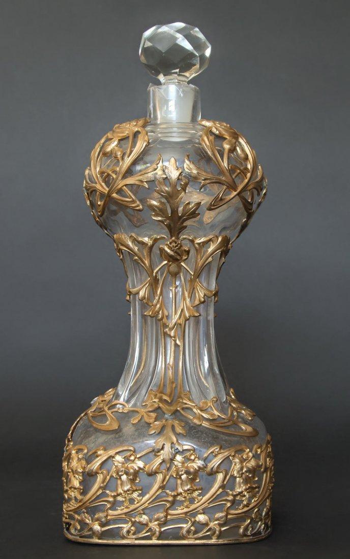 19th C. Large Baccarat Glass & Bronze Perfume Bottle