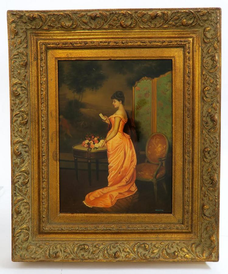 French 19th C. Glazed Painting on board