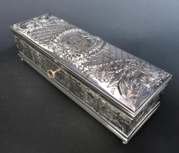 Fine 19th C. Silver-Plated Jewelry Box