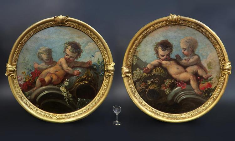 Pair of 19th C. Italian Oil on Canvas Paintings