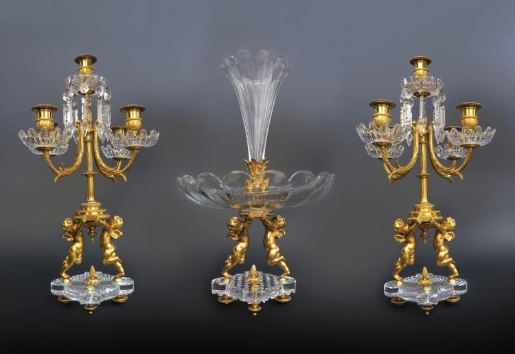 19th C. French Baccarat Figural 3 Pcs Garniture