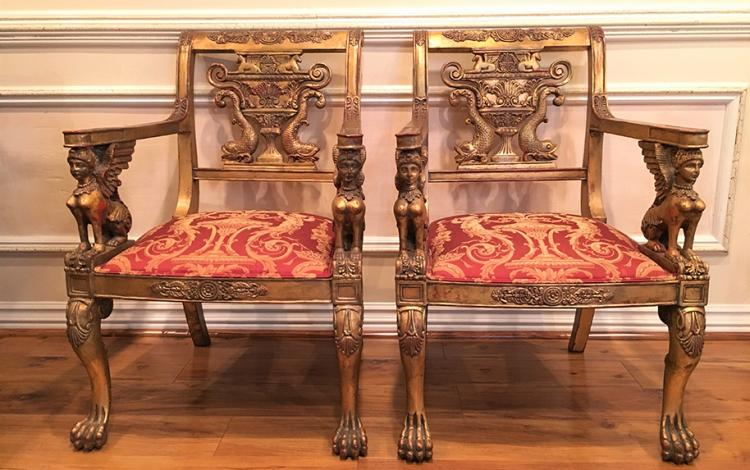 A Pair of Empire Style Chairs with Sphinx's arm support