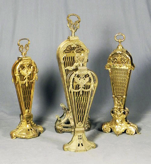 Group of Four Brass Peacock Style Fire Screens