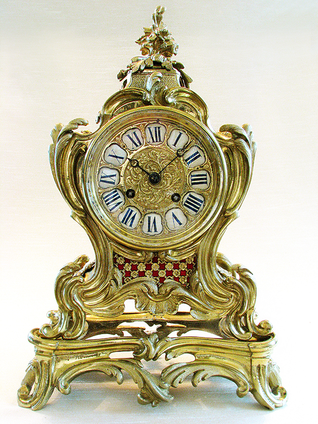 19th C. French Polished Bronze Rococo Mental Clock