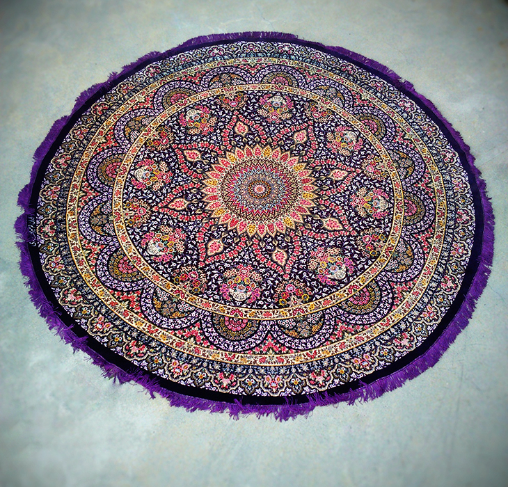 100% Silk Large Round Persian Rug from Qom