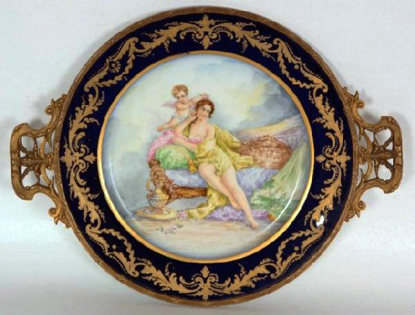 French Sevres porcelain Plate in Bronze frame