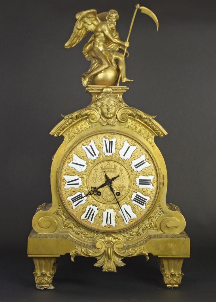 19th C. Bronze Clock