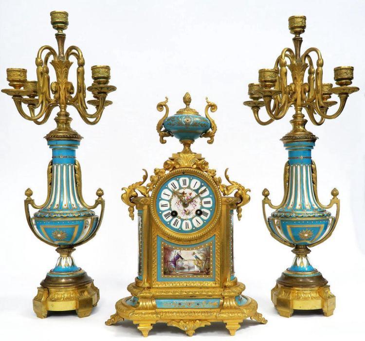 French Bronze & Sevres Porcelain Clock Set. 19th C.