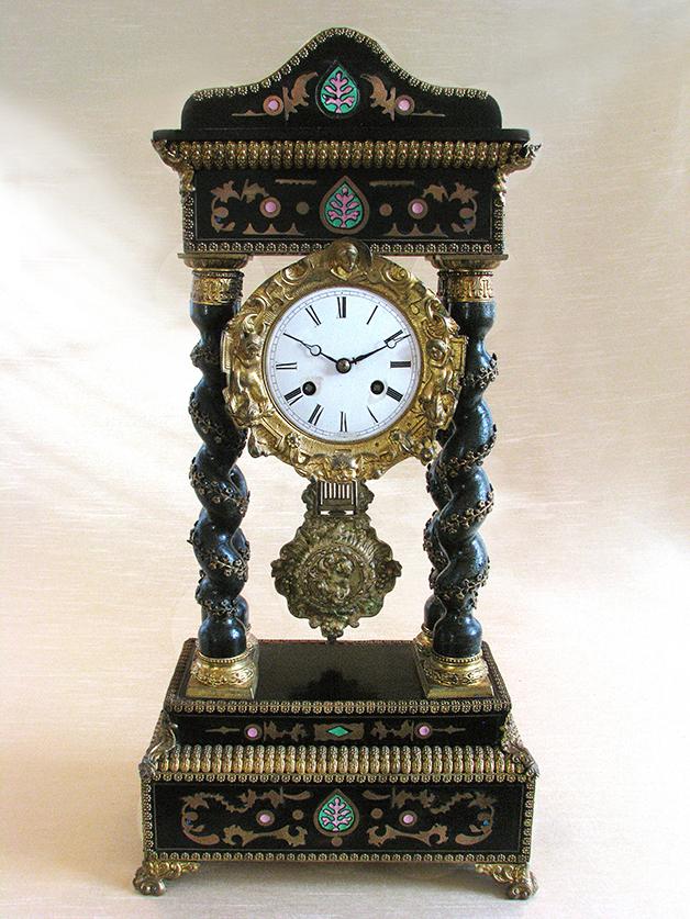 Rare 19th C. Japy French Inlaid Portico Mantel Clock