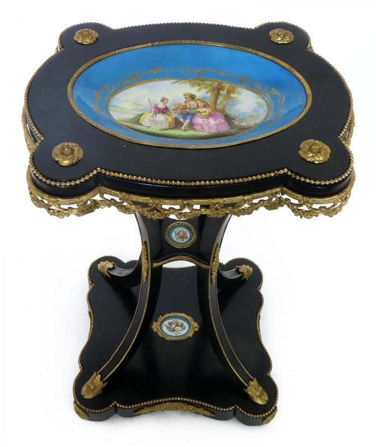 French Bronze & Sevres Porcelain Side Table
