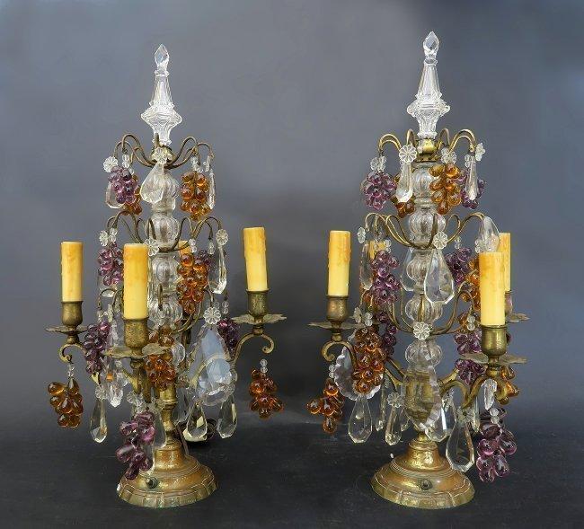 Fine Pair of Baccarat Crystal & Bronze Girandole