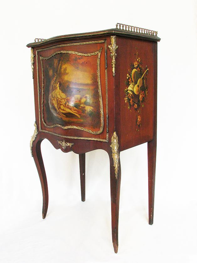 Hand painted Vernis Martin style scenic music cabinet