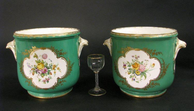 Pair of Green-Ground Sevres-Style Wine Cooler
