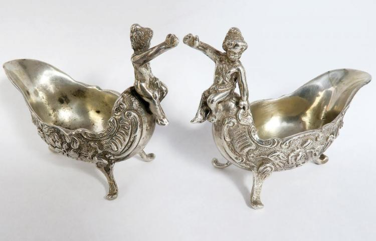 Pair of Sterling Silver Figural Floral Salt Cellar