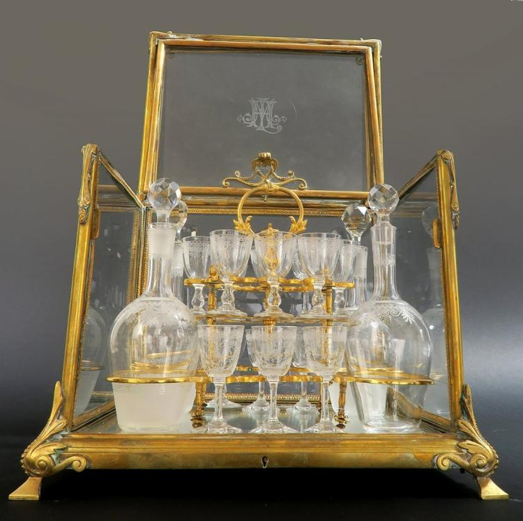 19th C. FRENCH DORE BRONZE WITH CRYSTAL TANTALUS LIQUOR