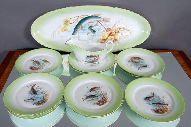 Austrian Carlsbad Porcelain Fish service Set