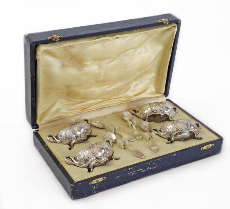 19th C. Set of Russian Silver Salt Cellars