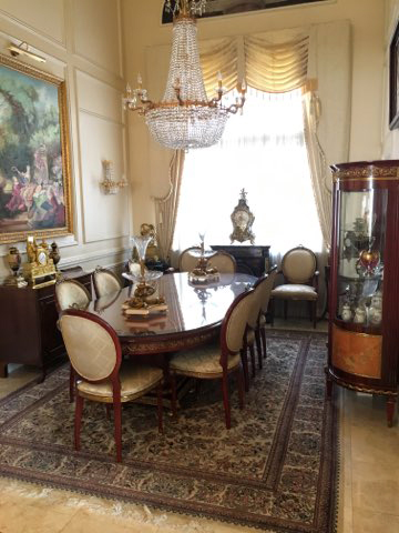 Rosewood Marquetry Dinning Table, Chairs & Vitrine Set