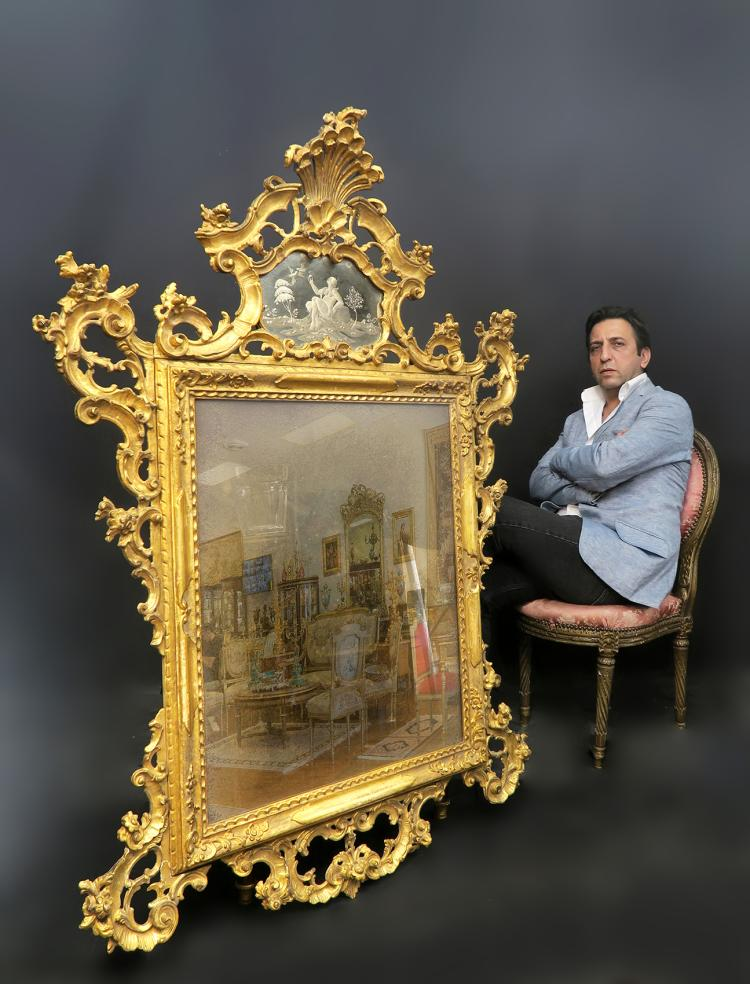 An Old Palatial Hand-carved Venetian Mirror