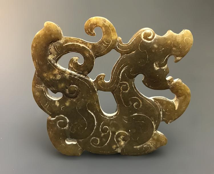 Magnificent Chinese Carved Jade Dragon-form Pendent