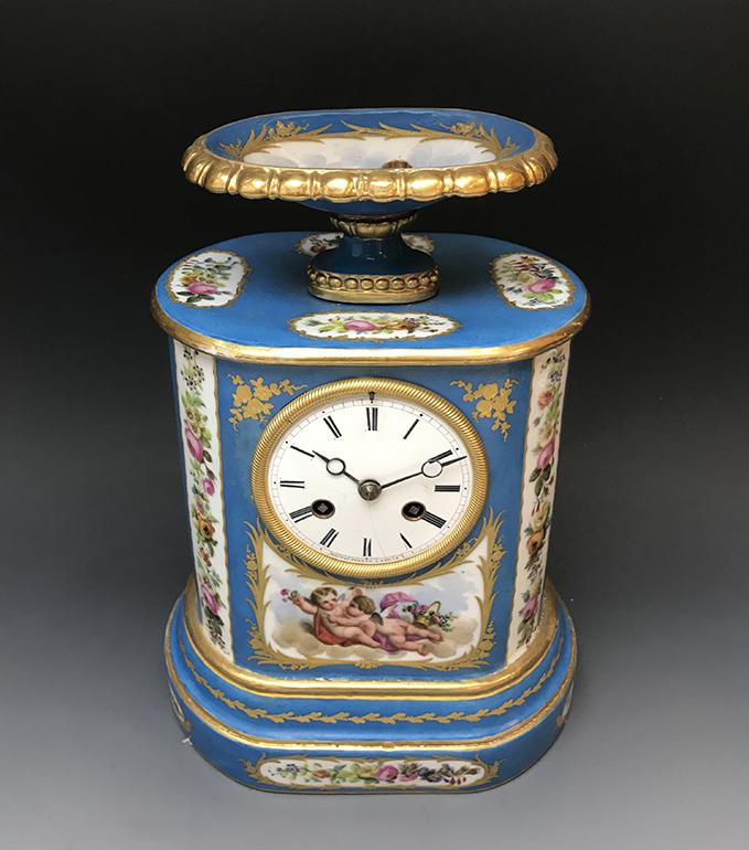 French Sevres Porcelain & Bronze Clock Signed
