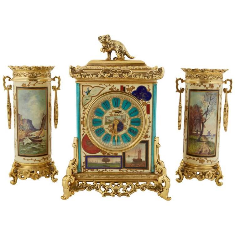 French Japonisme Gilt-Metal Mounted Clock Garniture Set
