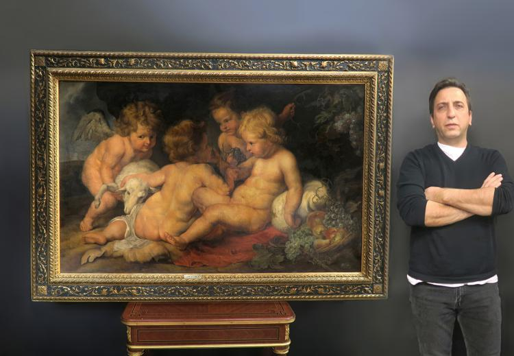 Large French Oil on Canvas Signed after Rubens