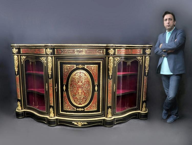Large French Boulle Bronze Mounted Vitrine Cabinet