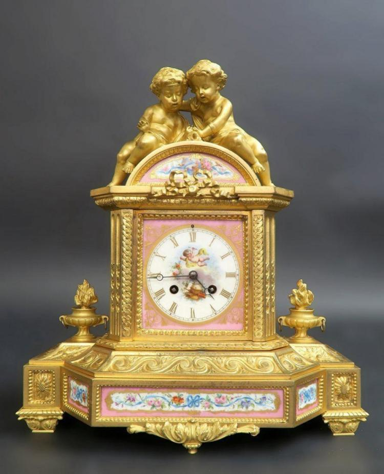 19th C. French Bronze & Sevres Porcelain Figural Clock