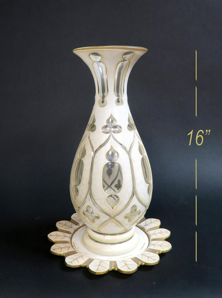 Very Large 19th C Bohemian Vase & Plate