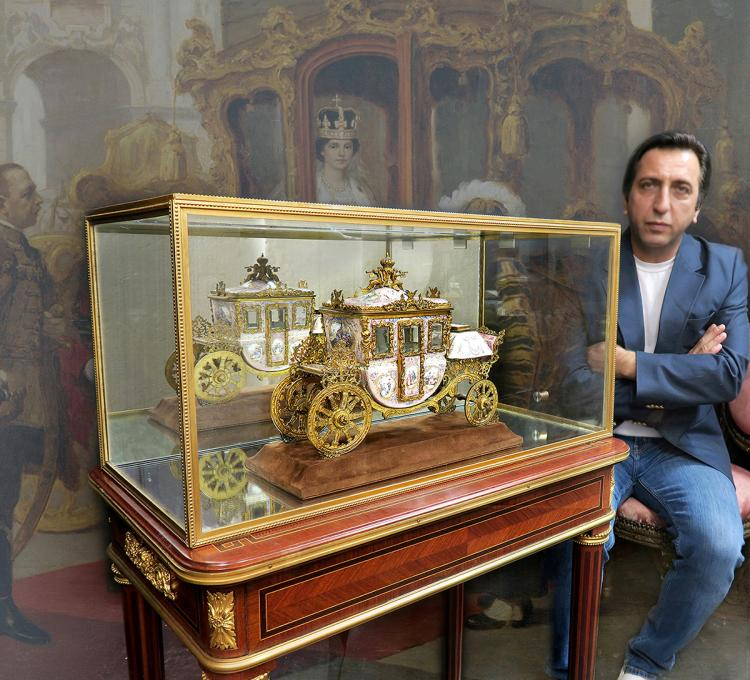 Large Museum Quality Viennese/Austrian Enamel Carriage