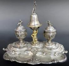 Fine 19th C. Austro-Hungarian Figural Silver Inkwell