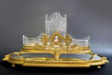 French Bronze & Baccarat Crystal Centerpiece & Plateau