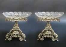 Pair of French Silver-Plated Christofle Style Compotes