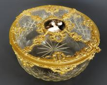 Large French Bronze & Baccarat Crystal Jewelry Box